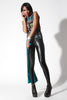Wet Look Spandex Leggings Black Blue Green Hues - Elastic Wonder - 4