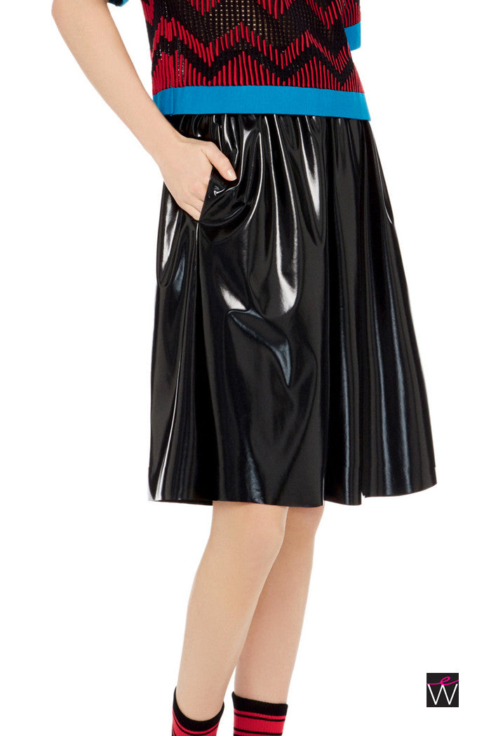 Vinyl Full Knee Length Skirt W/ Pockets - ElasticWonder.com