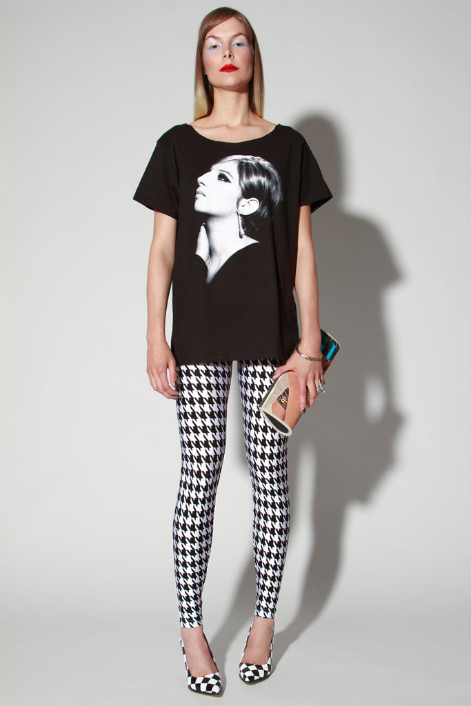 In Stock Houndstooth Print Spandex Leggings in Black and White - ElasticWonder.com