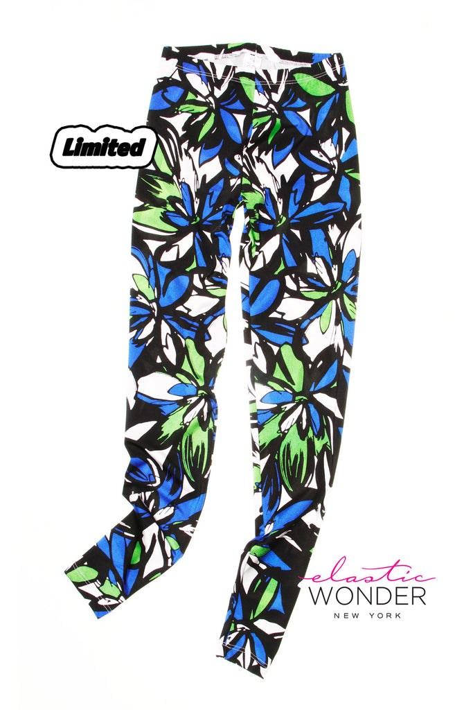 Blue Flower Spandex Leggings - ElasticWonder.com