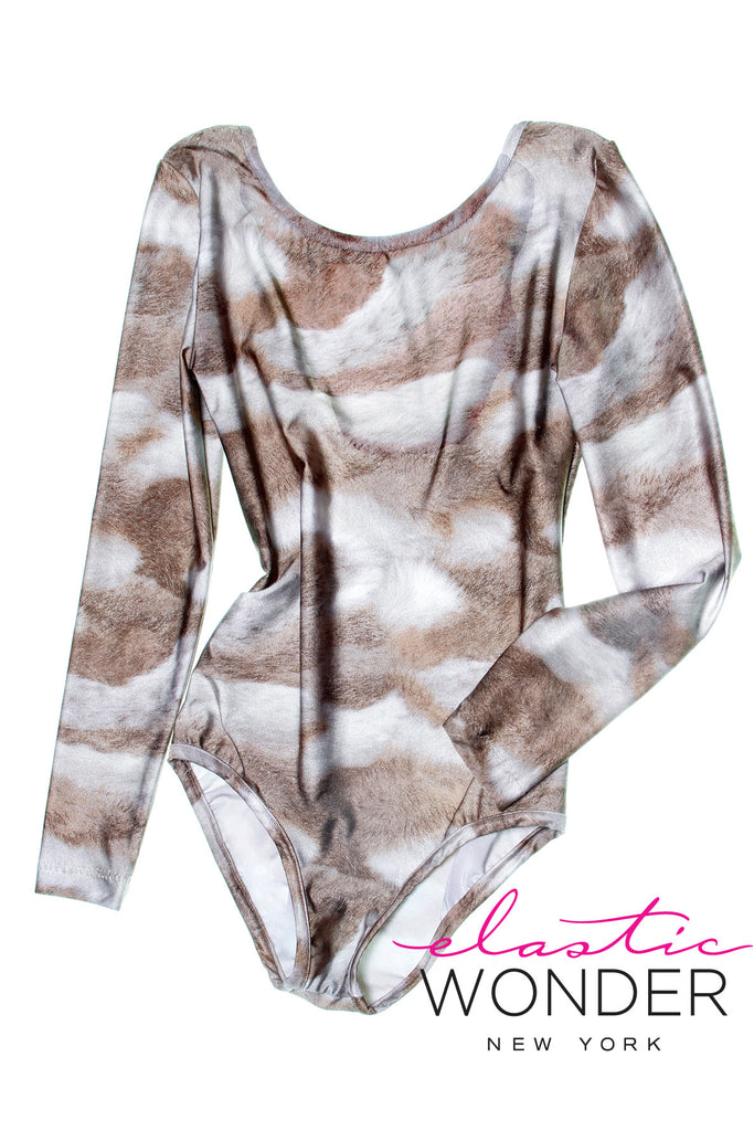 Rabbit Fur Printed Spandex Long Sleeve Body Suit - ElasticWonder.com