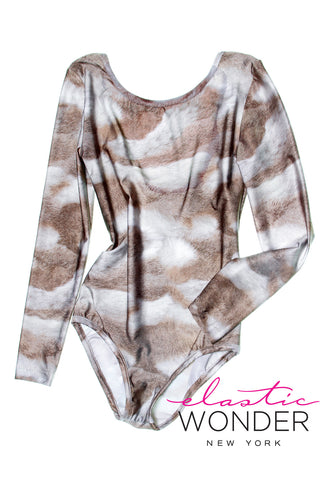 Rabbit Fur Printed Spandex Long Sleeve Body Suit
