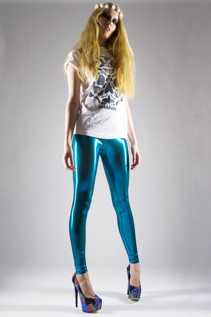 Scattered Mini Dot Metallic Printed Spandex Leggings - ElasticWonder.com