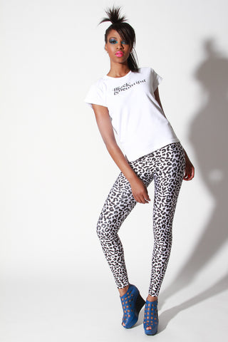 In Stock Two Tone Leopard Animal Print Spandex Leggings Black White