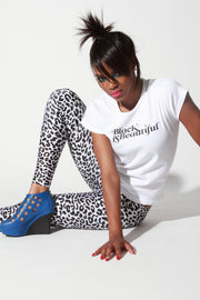 In Stock Two Tone Leopard Animal Print Spandex Leggings Black White - ElasticWonder.com