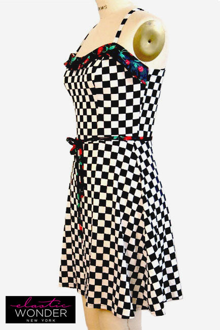 Rockabilly Check Cherry Bustier Belted Spandex Skater Mini Dress - ElasticWonder.com