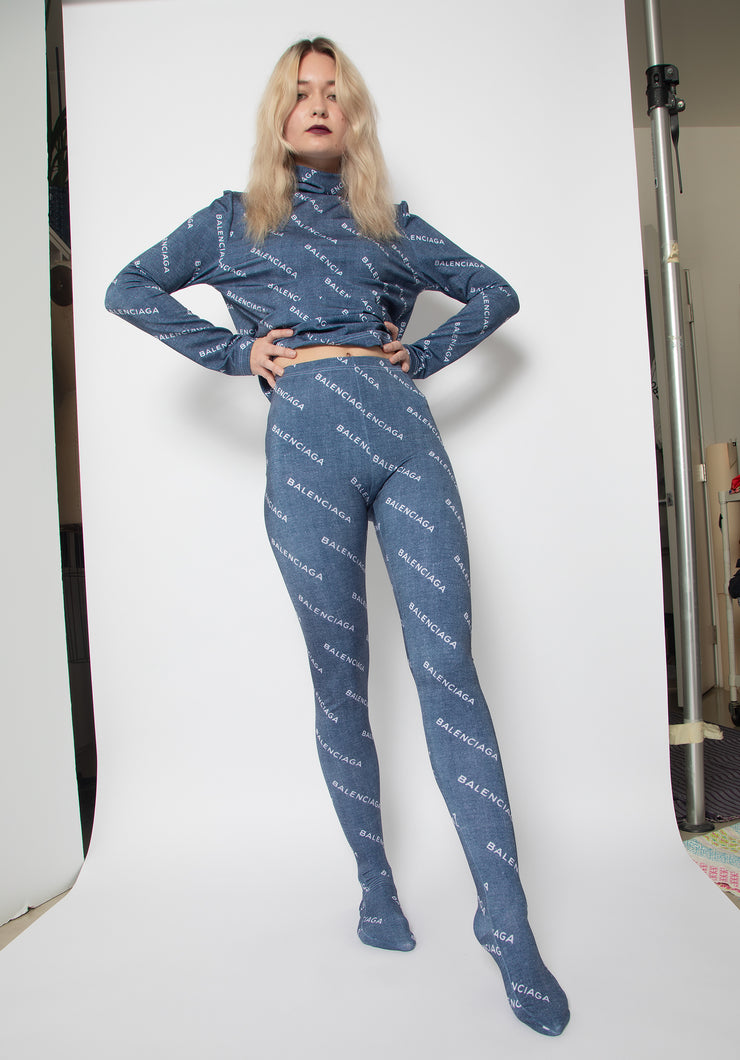 Logo Print Stockings & Turtleneck Top Co-ord Set - ElasticWonder.com
