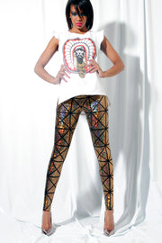 Panel Square Shattered Glass Hologram Leggings - ElasticWonder.com