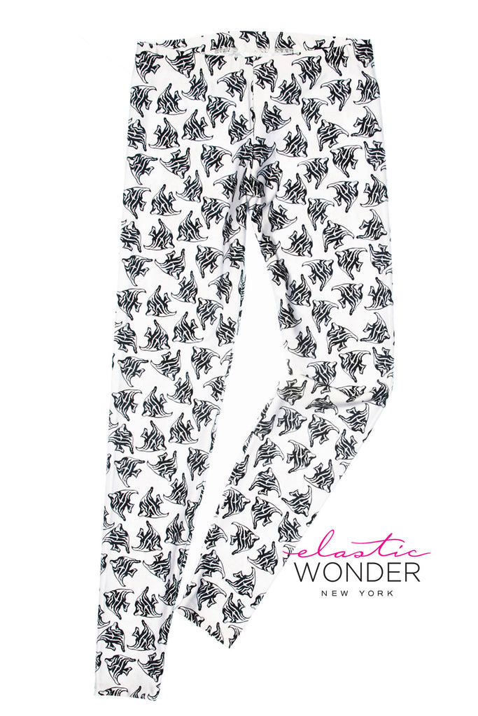 Exotic Fish Black & White Print Spandex Leggings - ElasticWonder.com