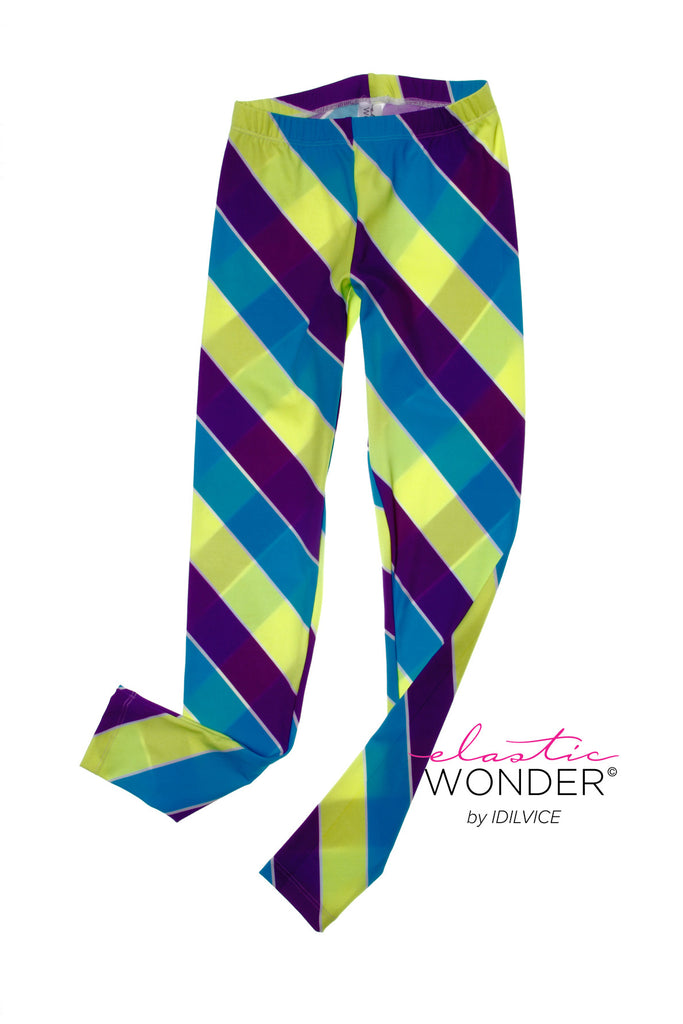 Diagonal Fat Neon Striped Pattern Spandex Leggings - ElasticWonder.com