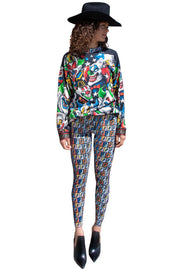 Fend I Logo Mania Repeat Patterned Women's Footless Leggings - ElasticWonder.com