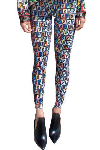 Fend I Logo Mania Repeat Patterned Women's Footless Leggings