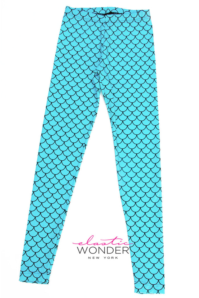 Fish Scale Mermaid Printed Spandex Leggings - Elastic Wonder - 1