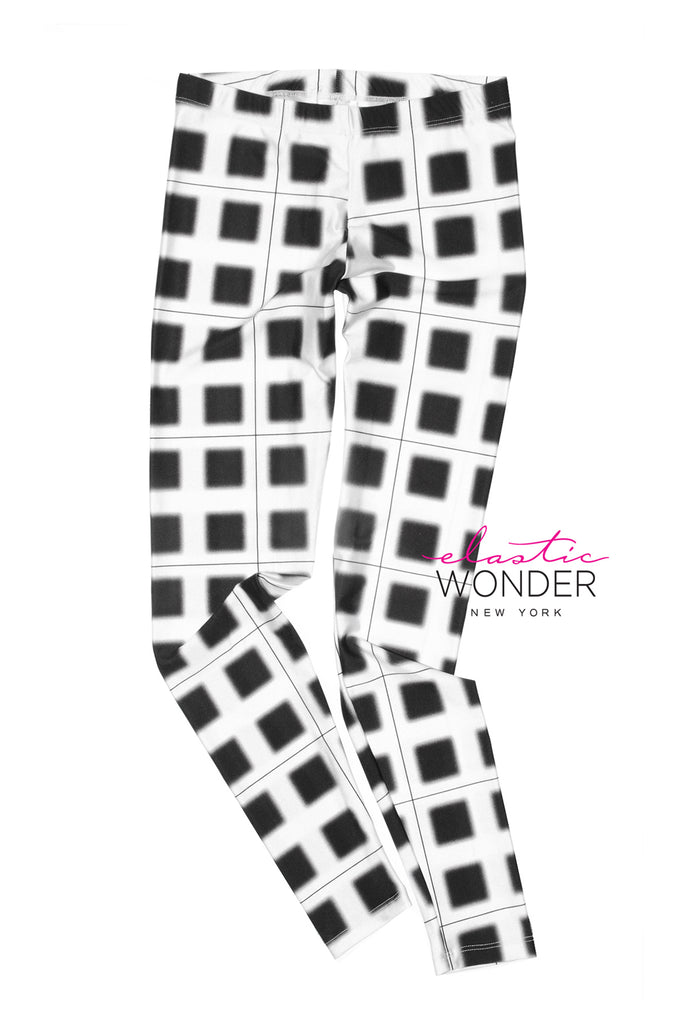 Out Of Focus Plaid Print Spandex Leggings - ElasticWonder.com