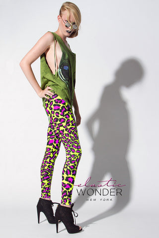 Shocking Green Neon Leopard Printed Spandex Leggings