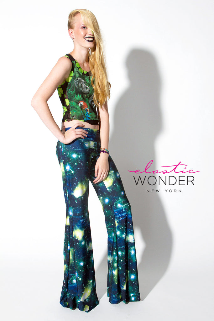 Bell Bottom Universe Galaxy Printed Pallazzo Pants - Elastic Wonder - 1