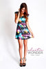 Galaxy Printed Nylon Spandex Skater Mini Dress - ElasticWonder.com