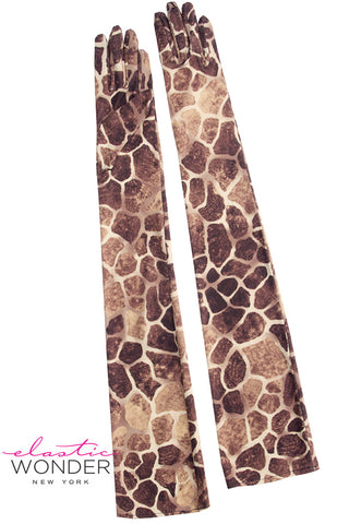 Giraffe Animal Print Pair Of Nylon Spandex Gloves