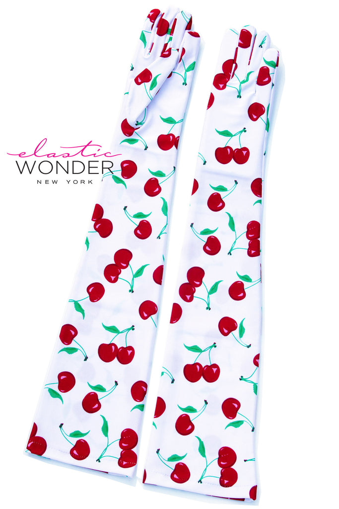 Cherry Pattern Printed Pair Of Nylon Spandex Gloves - ElasticWonder.com