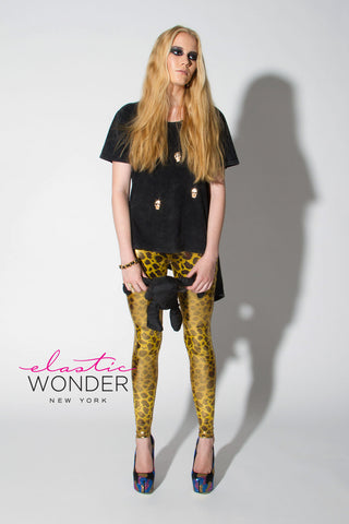 Gold Leopard Animal Print Spandex Leggings