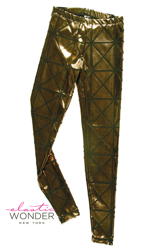 Panel Square Metallic Foil Dot Spandex Leggings - ElasticWonder.com