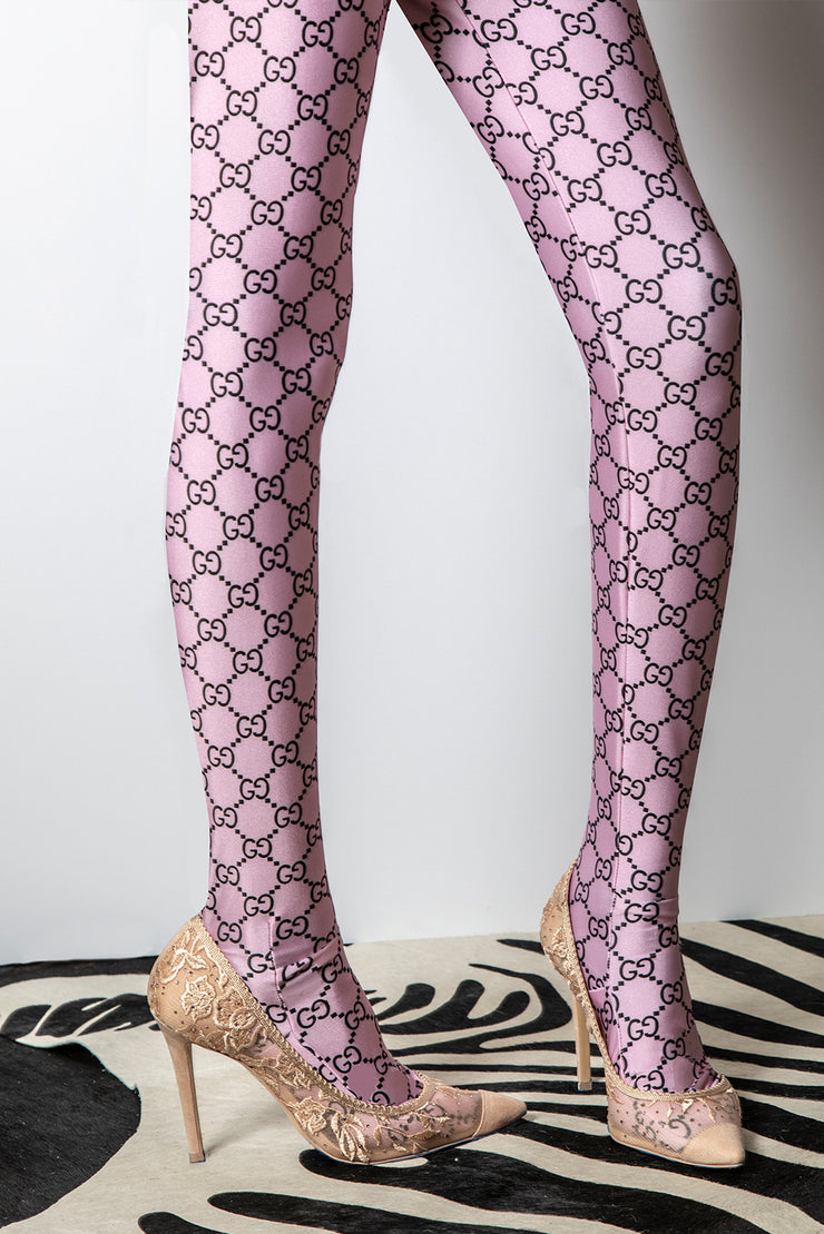 Logo Mania Repeat Patterned Women's Footless Leggings or Tights Soft Pink Mauve - ElasticWonder.com