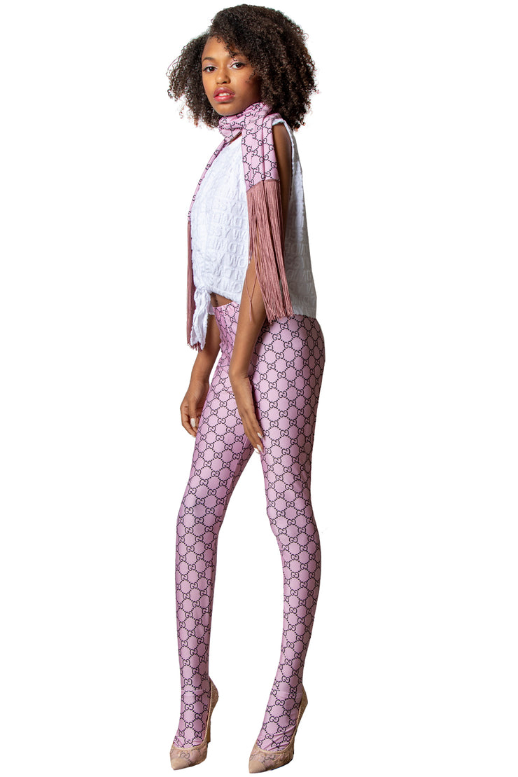 Logo Mania Repeat Patterned Women's Footless Leggings or Tights White & Colors - ElasticWonder.com