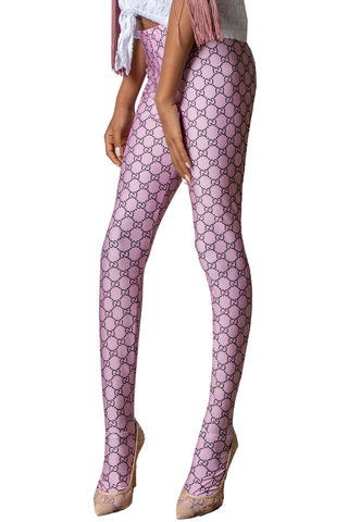 Logo Mania Repeat Patterned Women's Footless Leggings or Tights Soft Pink Mauve