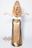 24 Carat Matte Gold 4-Way Stretch Vinyl Goddess Maxi Skirt - ElasticWonder.com