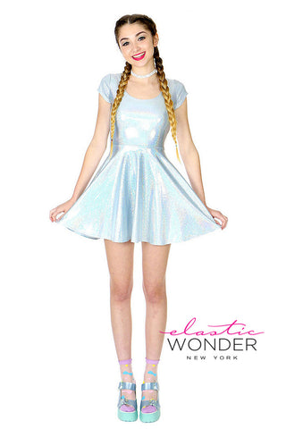 Hologram Laser Dot Printed Spandex Skater Mini Dress
