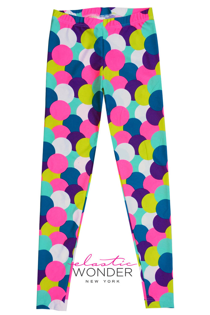 Candy Colored Ice Cream Scoop Dots Printed Spandex Leggings - ElasticWonder.com
