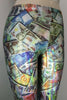 International Currency Money Photo Print Metallic Hologram Spandex Leggings - ElasticWonder.com