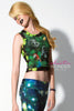 Green Flower Jungle Animals Printed Mesh Tank Top - ElasticWonder.com