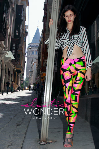 In Stock Pucci-Esque Kaleidoscope Print Spandex Leggings Pink