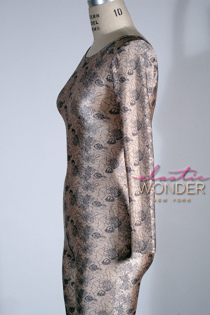 Kama Sutra Sketch Printed Spandex Nylon Whole Body Suit Catsuit One Piece Overall - ElasticWonder.com