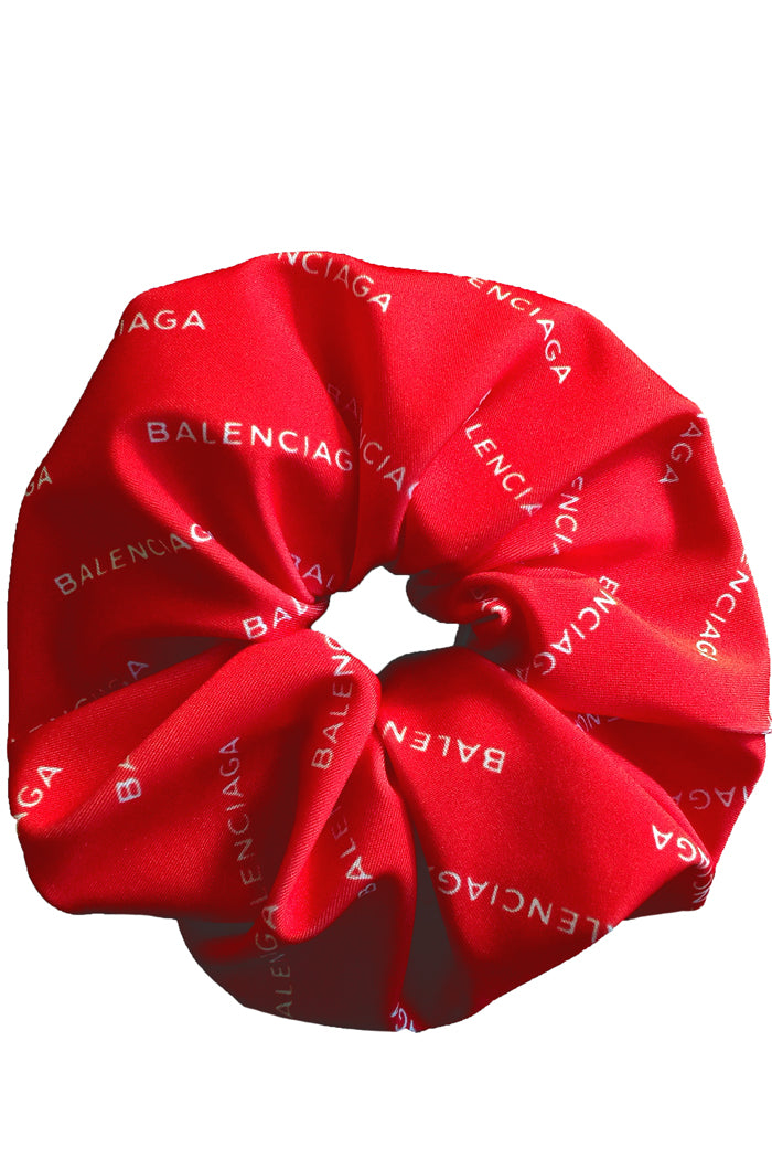 Designer Logo Mania Print Scrunchie Accessory Hair Tie Band Red - ElasticWonder.com