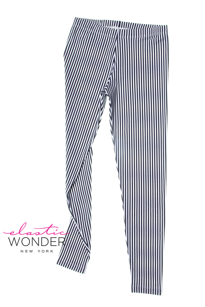Blue Medium Vertical Stripe Printed Spandex Leggings - ElasticWonder.com