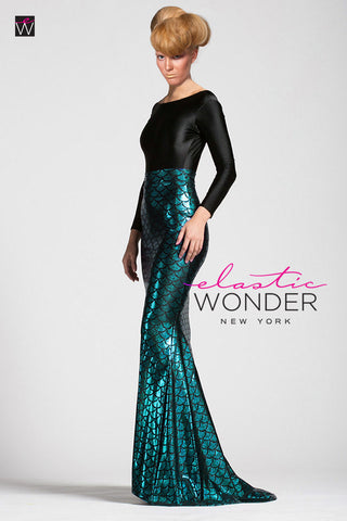 Mermaid Metallic Hologram Spandex Maxi Skirt