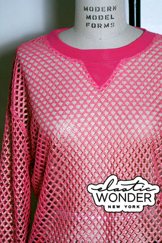 Mesh Spandex Long Sleeve Crewneck Sweatshirt Top