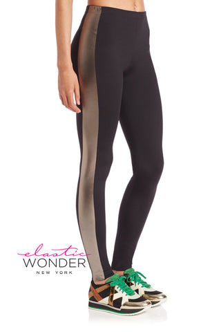 Metallic Side Stripe 4-Way Stretch Spandex Leggings