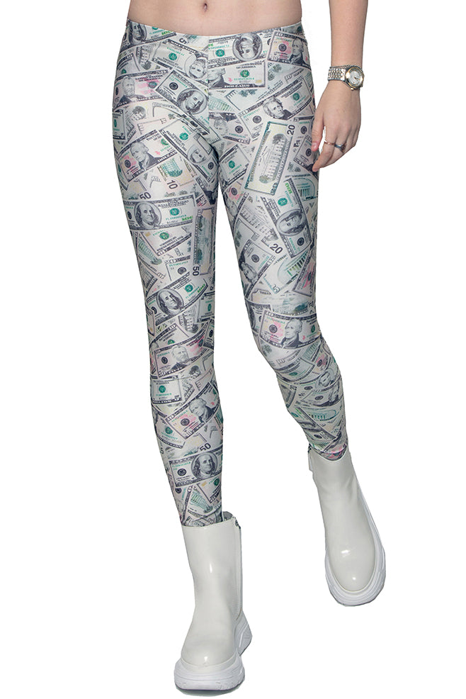 US Dollar Bill Money Photo Print Spandex Leggings - ElasticWonder.com
