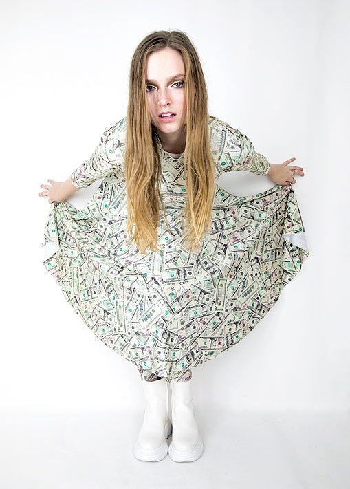 Dollar Bill Print Skater Dress - ElasticWonder.com