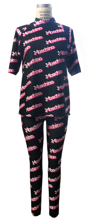 Logo Printed Leggings & Rash Guard Top Co-ord Set - ElasticWonder.com