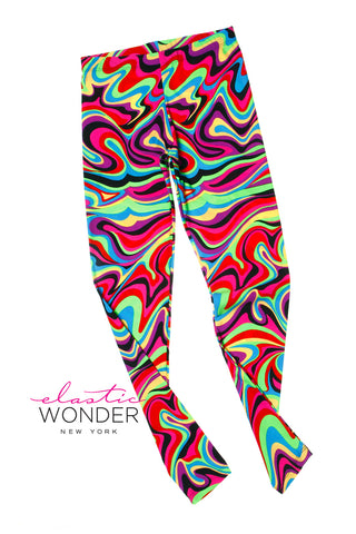 Multi Color Lava Swirl Print Spandex Leggings