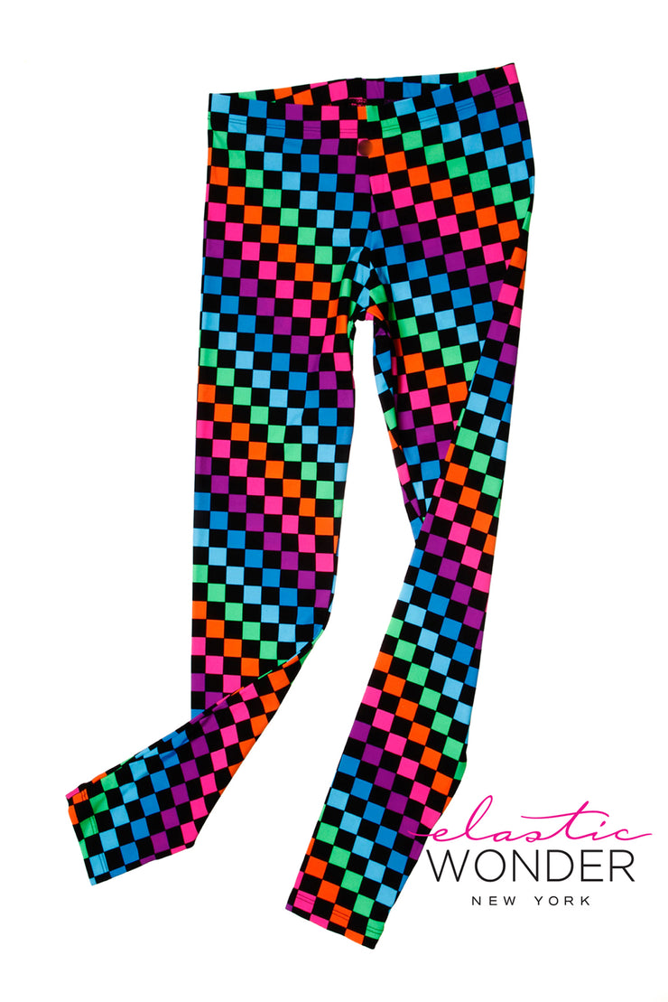 Multi Color Check Print Spandex Leggings - ElasticWonder.com