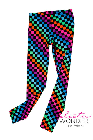 Multi Color Check Print Spandex Leggings