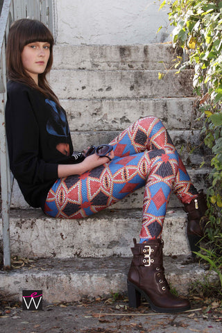 Native American Indian Beads Pattern Spandex Leggings