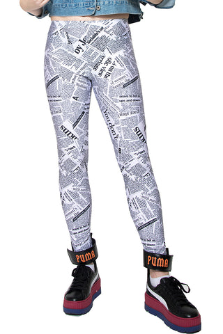 In Stock News Paper Print Spandex Leggings