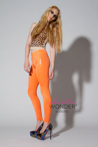 Clear Foil Dot Printed Solid Color Spandex Leggings