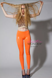 Clear Foil Dot Printed Solid Color Spandex Leggings - ElasticWonder.com